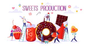 Концепция производства продуктов питания помадок иллюстрация вектора