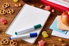 Концепция пролома школьного обеда с здоровой коробкой для завтрака и школьные принадлежности на деревянном столе, селективном фок Стоковые Фото