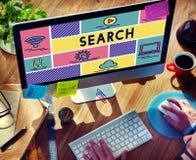 Концепция просматривать исследования данным по находки поиска стоковые изображения