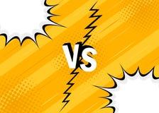 Концепция ПРОТИВ против драка Желтый ретро дизайн стиля комиксов предпосылки с полутоновым изображением, молнией бесплатная иллюстрация