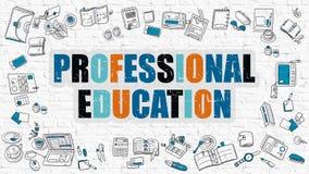 Концепция профессионального образования с значками дизайна Doodle иллюстрация вектора