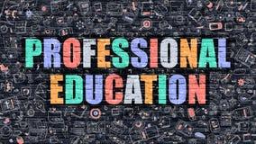 Концепция профессионального образования Multicolor на темном Brickwall иллюстрация вектора