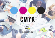 Концепция процесса печати ключевого цвета CMYK Cyan magenta желтая Стоковое фото RF