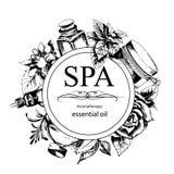 Концепция процедуры по курорта с цветками, бутылками Стоковая Фотография