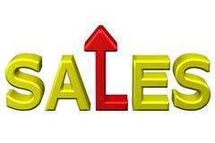 Концепция: продажи слова с стрелкой перевод 3d Стоковая Фотография