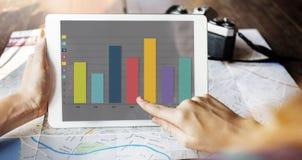 Концепция продаж улучшения выгоды маркетинга диаграммы диаграммы в виде вертикальных полос Стоковые Фото