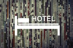 Концепция путешествия, резервирования и ренты гостиницы стоковые изображения rf