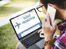 Концепция путешествовать предложения продвижения полета плоская Стоковое фото RF