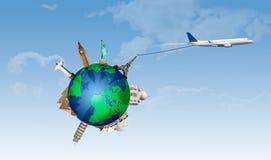 Концепция путешествовать самолетом принимая с важными памятниками иллюстрация штока