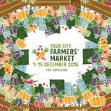 Концепция плаката рынка фермеров Стоковые Изображения