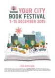 Концепция плаката фестиваля книги Стоковая Фотография RF