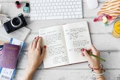 Концепция плана дневника примечания сочинительства руки Стоковые Фотографии RF