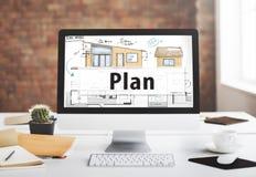 Концепция планирования светокопии плана дизайна конструкции Стоковая Фотография RF