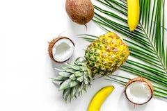 Концепция плодоовощей лета тропических Ананас, банан, cocount, ветвь ладони на белом copyspace взгляд сверху предпосылки Стоковое Фото