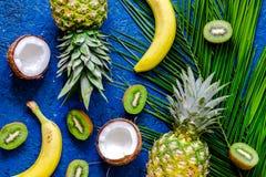 Концепция плодоовощей лета тропических Ананас, киви, банан, cocount на голубом copyspace взгляд сверху предпосылки таблицы Стоковое Фото