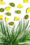 Концепция плодоовощей лета тропических Ананас, киви и ладонь разветвляют на белом взгляд сверху предпосылки Стоковая Фотография