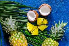 Концепция плодоовощей лета тропических Ананас, кокос и ладонь разветвляют на голубом взгляд сверху предпосылки таблицы Стоковое фото RF