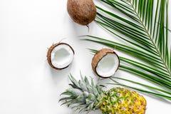 Концепция плодоовощей лета тропических Ананас, кокос и ладонь разветвляют на белом copyspace взгляд сверху предпосылки Стоковые Изображения