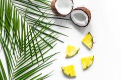 Концепция плодоовощей лета тропических Ананас, cocount и ладонь разветвляют на белом copyspace взгляд сверху предпосылки Стоковая Фотография RF