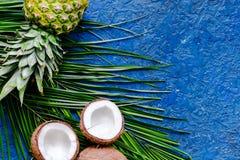 Концепция плодоовощей лета тропических Ананас, cocount и ладонь разветвляют на голубом copyspace взгляд сверху предпосылки таблиц Стоковая Фотография