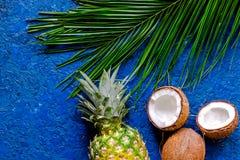 Концепция плодоовощей лета тропических Ананас, cocount и ладонь разветвляют на голубом copyspace взгляд сверху предпосылки таблиц Стоковые Изображения RF