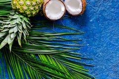 Концепция плодоовощей лета тропических Ананас, cocount и ладонь разветвляют на голубом copyspace взгляд сверху предпосылки таблиц Стоковые Фотографии RF