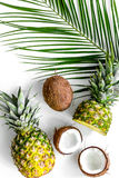 Концепция плодоовощей лета тропических Ананас, cocount и ладонь разветвляют на белом взгляд сверху предпосылки Стоковые Изображения