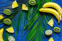 Концепция плодоовощей лета тропических Банан, киви, ананас и ладонь разветвляют на голубом взгляд сверху предпосылки таблицы Стоковая Фотография