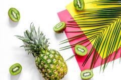 Концепция плодоовощей лета тропических Киви, ананас и ладонь разветвляют на белом взгляд сверху предпосылки таблицы Стоковые Изображения