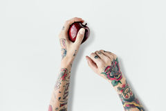 Концепция плодоовощ Яблока татуировки красная свежая сладостная сочная Стоковые Фотографии RF