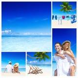 Концепция пляжа лета пар медового месяца романтичная Стоковое Фото