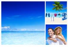 Концепция пляжа лета пар медового месяца романтичная Стоковые Фотографии RF
