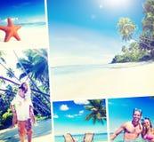 Концепция пляжа лета пар медового месяца романтичная Стоковая Фотография