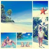 Концепция пляжа лета пар медового месяца романтичная Стоковые Фото