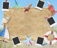 Концепция пляжа тимберса изображения фото рамки плаката деревянная Стоковая Фотография