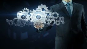 Концепция работы команды шестерни успеха бизнесмена