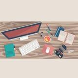 Концепция рабочего места взгляд сверху Плоское рабочее место офиса дизайна, вектор иллюстрация вектора