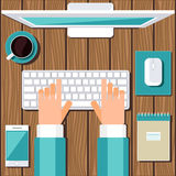 Концепция рабочего места Плоский дизайн бесплатная иллюстрация
