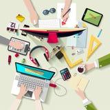 Концепция рабочего места Плоский дизайн Стоковые Изображения