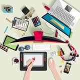 Концепция рабочего места Плоский дизайн Стоковое Фото