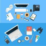 Концепция рабочего места Плоский дизайн Стоковое Изображение RF