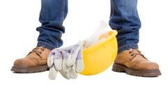 Концепция рабочий-строителя на белой предпосылке Стоковое Фото