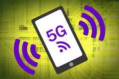 концепция радиотелеграфа 5G Smartphone 5G с радиотелеграфом развевает значок Комплементарные цветы Стоковая Фотография