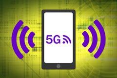 концепция радиотелеграфа 5G Smartphone 5G с радиотелеграфом развевает значок Комплементарные цветы Стоковое Изображение