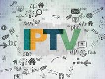 Концепция развития сети: IPTV на бумаге цифров Стоковые Изображения RF