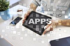 Концепция развития Apps Дело и концепция технологии интернета стоковая фотография
