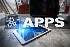 Концепция развития Apps Дело и технология интернета стоковое фото rf
