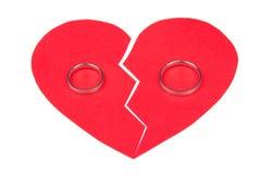 Концепция развода - обручальные кольца на красном разбитом сердце изолированном дальше Стоковая Фотография