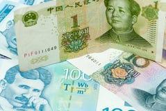 Концепция различных сербских банкнот динара и китайских банкнот renminbi юаней международная торгуя Стоковое фото RF