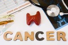Концепция рака щитовидной железы Анатомическая форма тиреоида лежит около писем составляя рак слова окруженный комплектом испытан Стоковое Изображение RF